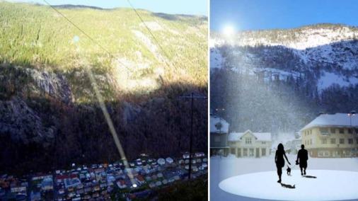 Los espejos instalados en la montaña reflejan la luz hacia la plaza del pueblo