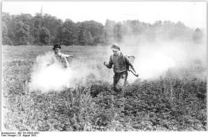 Niños fumigando con DDT un campo de Alemania, 1953 (Kruger, Creative Commons)