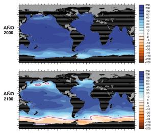 Evolución prevista de la acidificación de los océanos. El color azul indica las aguas de superficie que propician la formación de carbonato de calcio y el rojo muestra las aguas que son corrosivas para los organismos que se calcifican.