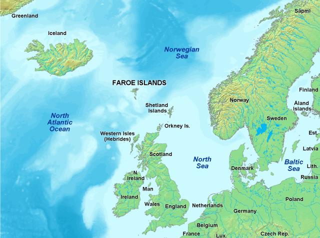 Localización geográfica de las Islas Feroe