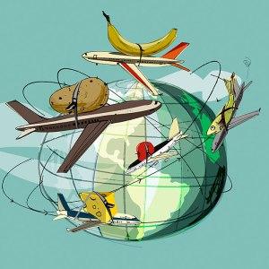Los alimentos que consumimos son transportados a menudo desde una punta a otra del planeta