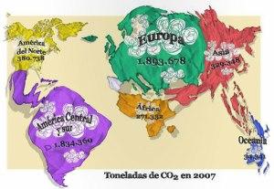 Toneladas de CO2 producidas en el transporte de alimentos desde su origen hasta España en el año 2007